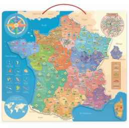 Carte éducative de France 92 magnets bois -  -Jeux d'association