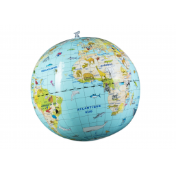 Globe gonflable 30cm animaux -  -Mappemondes